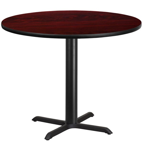 42 Inch Round Mahogany Laminate Table Top W/33 X 33 Table Height Base FLF-XU-RD-42-MAHTB-T3333-GG