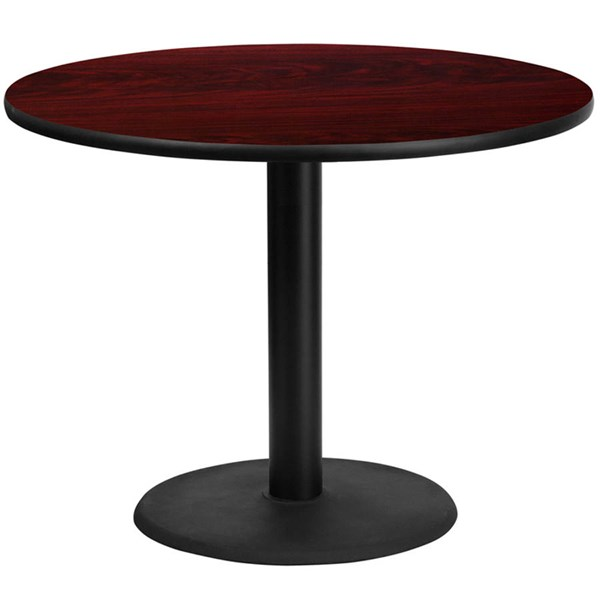 42 Inch Round Mahogany Laminate Table Top w/24 Inch Round Table H Base FLF-XU-RD-42-MAHTB-TR24-GG
