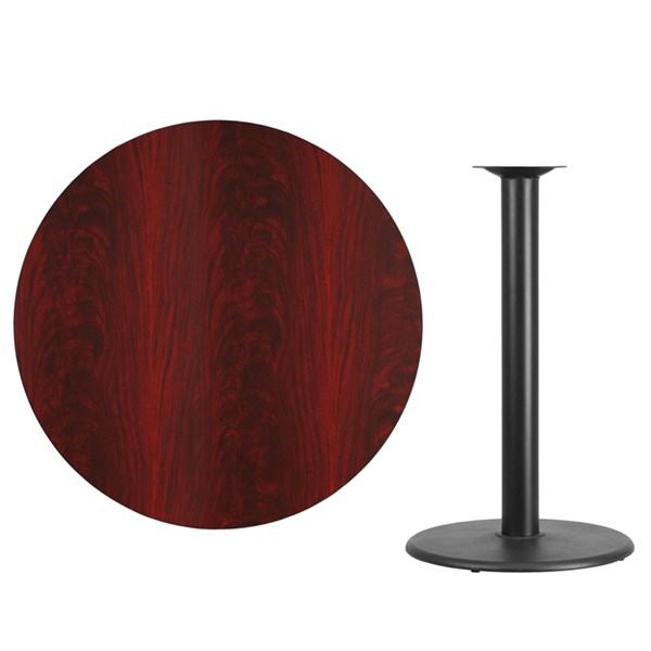 42 Inch Mahogany Laminate Table Top w/24 Inch Round Bar Table Base FLF-XU-RD-42-MAHTB-TR24B-GG