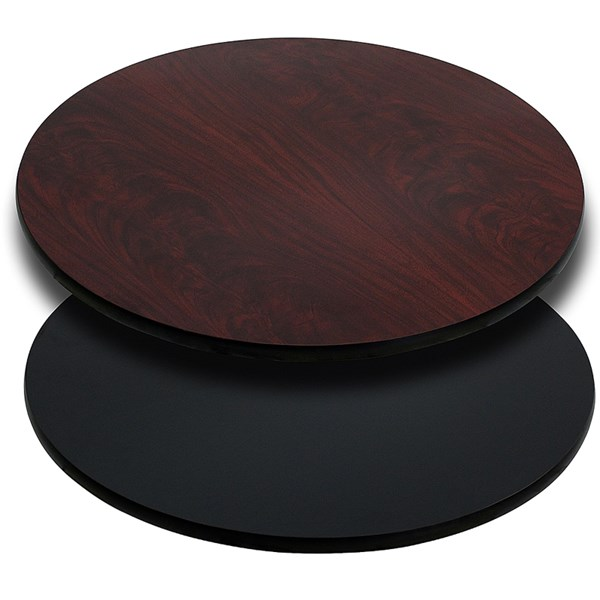 42 Inch Round Table Top With Black Or Mahogany Reversible Laminate Top FLF-XU-RD-42-MBT-GG