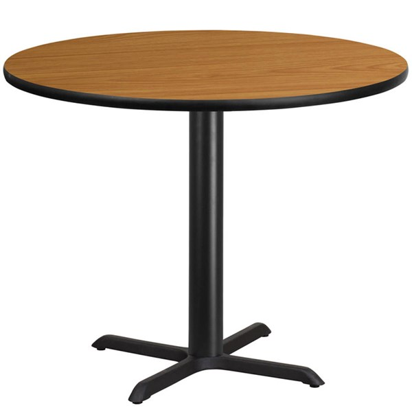 Flash Furniture 42 Inch Round Natural Laminate Table Top with 33 X 33 Table Base FLF-XU-RD-42-NATTB-T3333-GG