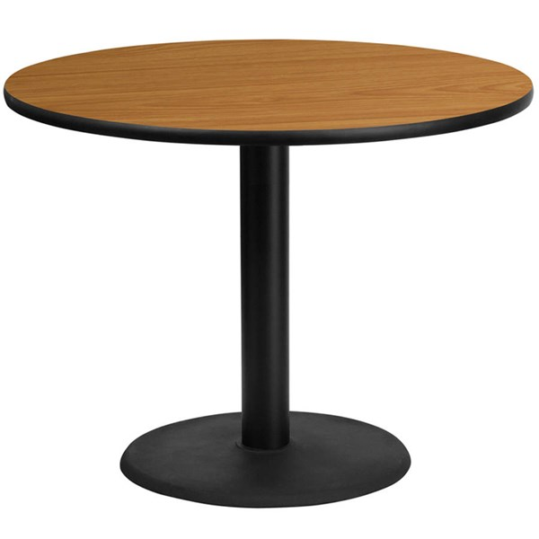 Flash Furniture 42 Inch Round Natural Laminate Table Top with 24 Inch Round Table Base FLF-XU-RD-42-NATTB-TR24-GG