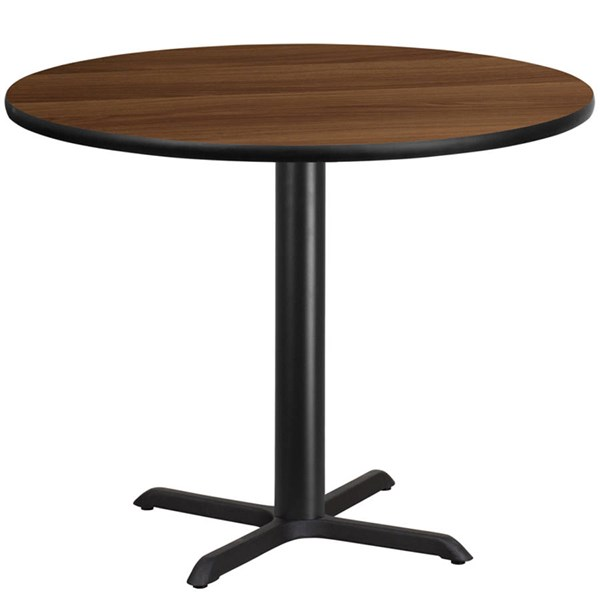 Flash Furniture 42 Inch Round Walnut Laminate Table Top with 33 X 33 Table Base FLF-XU-RD-42-WALTB-T3333-GG