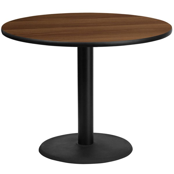 Flash Furniture 42 Inch Round Walnut Laminate Table Top with 24 Inch Round Table Base FLF-XU-RD-42-WALTB-TR24-GG
