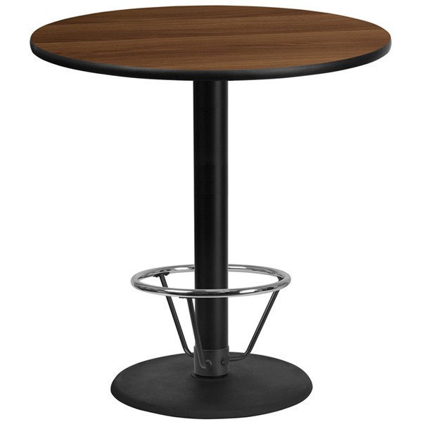 Flash Furniture Walnut 42 Round Base Laminate Table FLF-XURD-42WLTB-TR24B4CFRGG