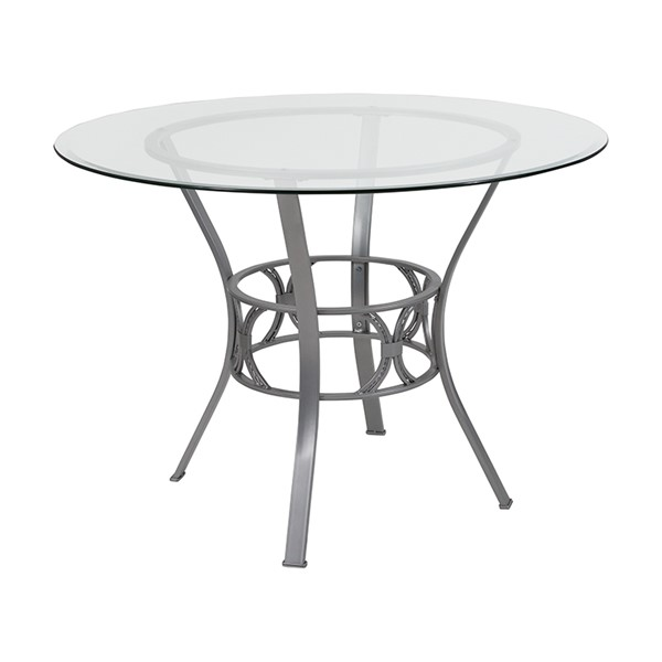 Flash Furniture Carlisle 42 Inch Round Silver Frame Table FLF-XU-TBG-21-GG-DT-VAR1