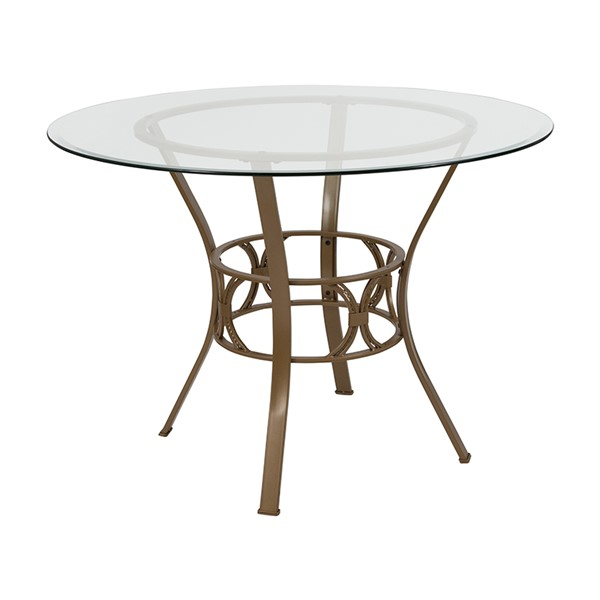 Flash Furniture Carlisle Matte Gold 42 Inch Round Glass Table FLF-XU-TBG-3-GG