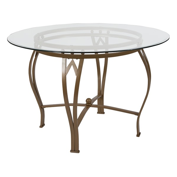 Flash Furniture Syracuse Matte Gold 45 Round Glass Table FLF-XU-TBG-8-GG