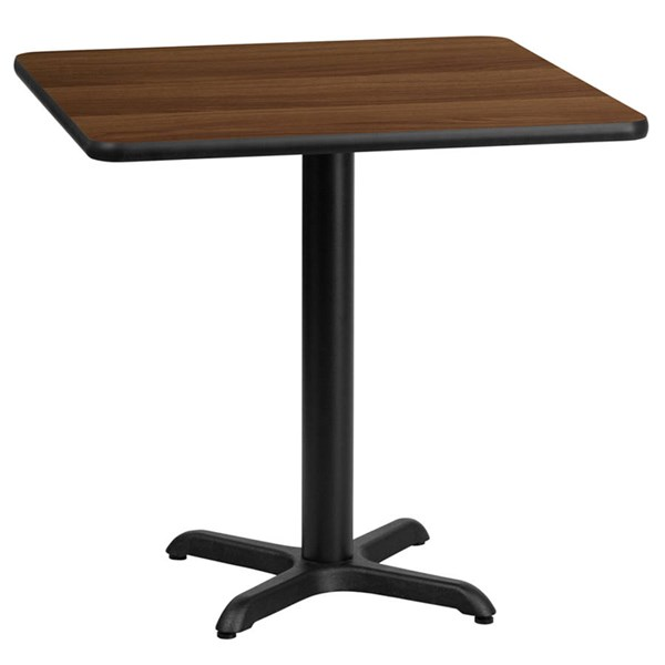 24 Inch Square Walnut Laminate Table Top W/22x22 Table Height Base FLF-XU-WALTB-2424-T2222-GG