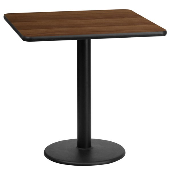 Flash Furniture 24 Inch Square Walnut Table Top with 18 Inch Round Table Height Base FLF-XU-WALTB-2424-TR18-GG