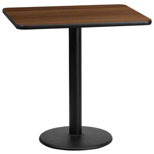 Flash Furniture 24X30 Walnut Laminate Table Top with 18 Inch Round Table Base FLF-XU-WALTB-2430-TR18-GG
