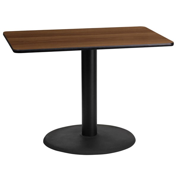 24x42 Walnut Laminate Table Top W/24 Inch Round Table Height Base FLF-XU-WALTB-2442-TR24-GG