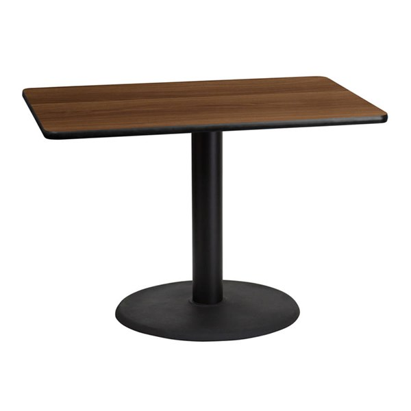 Flash Furniture 30X42 Walnut Laminate Table Top with 24 Inch Round Table Base FLF-XU-WALTB-3042-TR24-GG