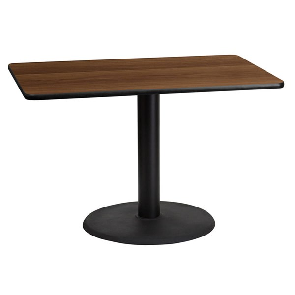 Flash Furniture 30X45 Walnut Laminate Table Top with 24 Inch Round Table Base FLF-XU-WALTB-3045-TR24-GG
