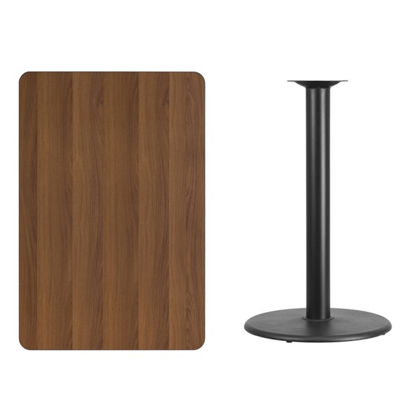 30x45 Walnut Laminate Table Top W/24 Inch Round Bar Height Table Base FLF-XU-WALTB-3045-TR24B-GG