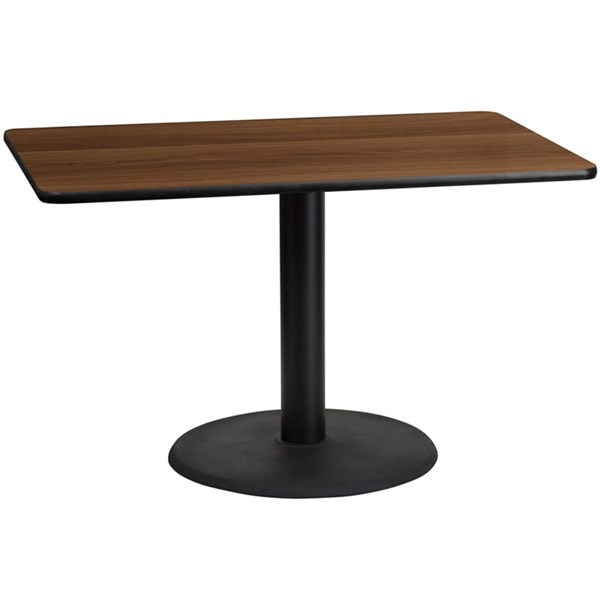 30x48 Walnut Laminate Table Top W/24 Inch Round Table Height Base FLF-XU-WALTB-3048-TR24-GG