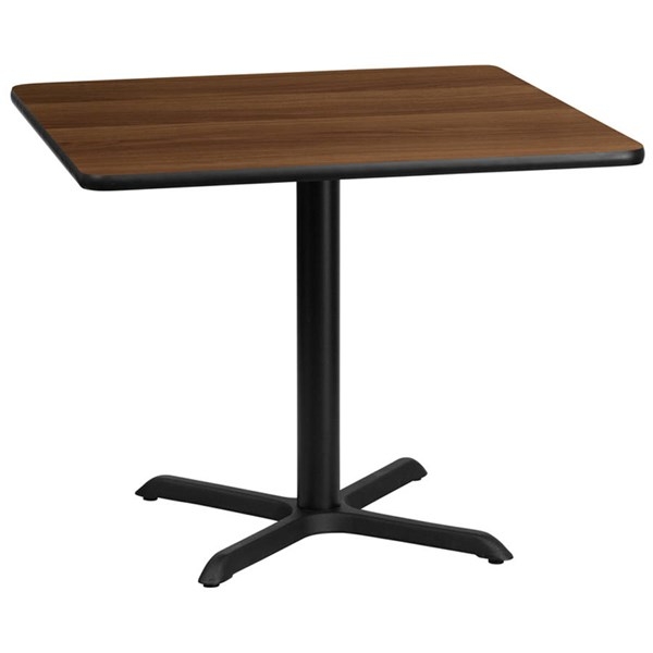 36 Inch Square Walnut Laminate Table Top w/30 x 30 Table Height Base FLF-XU-WALTB-3636-T3030-GG