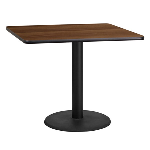 Flash Furniture 36 Inch Square Walnut Laminate Table Top with Table H Base FLF-XU-WALTB-3636-TR24-GG