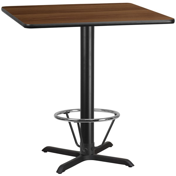 Flash Furniture Walnut 42 Square Laminate Table FLF-XU-WALTB-4242-T3333B-4CFR-GG