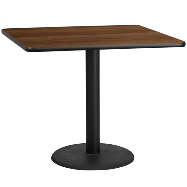 42 Inch Square Walnut Table Top W/24 Inch Round Table Height Base FLF-XU-WALTB-4242-TR24-GG