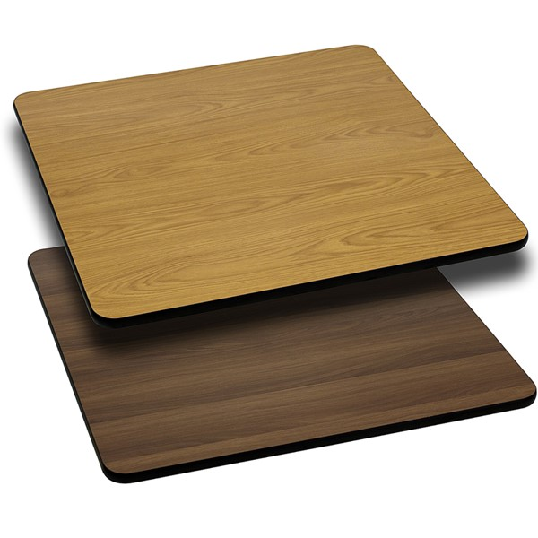 Flash Furniture 42 Inch Square Natural Walnut Reversible Laminate Table Top FLF-XU-WNT-4242-GG