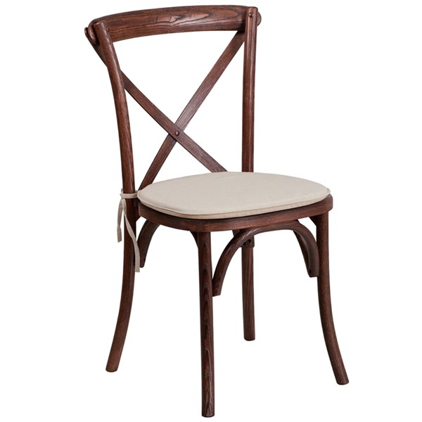 Flash Furniture Hercules Fabric Mahogany Cross Back Chair FLF-XU-X-MAH-NTC-GG