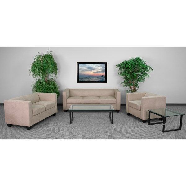Prestige Series Brown Microfiber Wood 3pc Living Room Set FLF-Y-H901-MIC-BN-GG-LR-S1