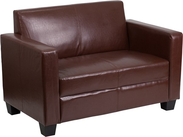 Grand Series FedExable Brown Leather Loveseat FLF-Y-H902-2-BN-LEA-GG
