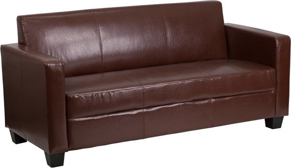 Grand Series FedExable Brown Leather Sofa FLF-Y-H902-3-BN-LEA-GG