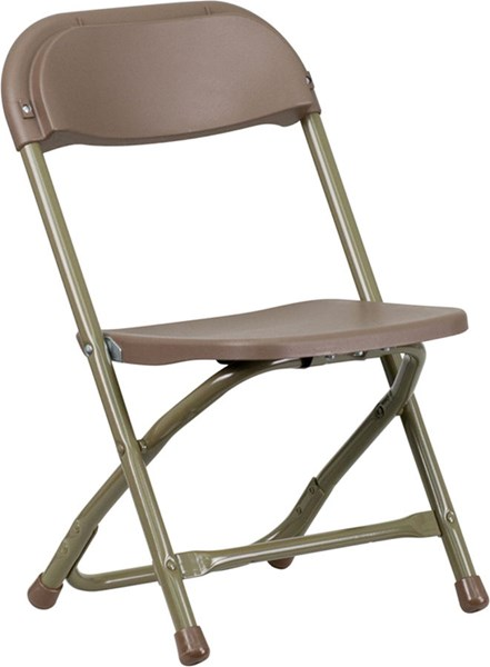 Flash Furniture Brown Metal Plastic Solid Back Kids Folding Chair FLF-Y-KID-BN-GG