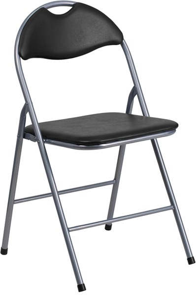 Hercules Series Black Vinyl Metal Folding Chair with Carrying Handle FLF-YB-YJ806H-GG