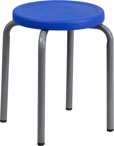 Flash Furniture Stackable Stool with Blue Seat and Silver Powder Coated Frame FLF-YK01B-BL-GG