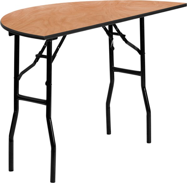Black Natural Metal Wood Folding Banquet Tables FLF-YT-WHRFT-HF-GG-VAR