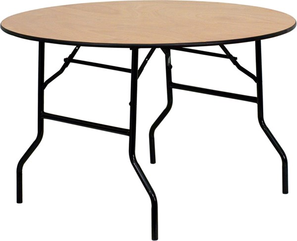 48 Inch Round Wood Folding Banquet Table W/Clear Coated Finished Top FLF-YT-WRFT48-TBL-GG