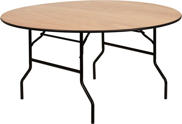 Flash Furniture 60 Inch Round Wood Folding Banquet Table FLF-YT-WRFT60-TBL-GG