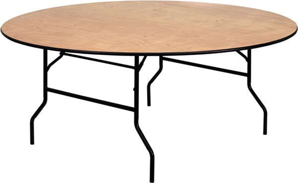 72 Inch Round Wood Folding Banquet Table W/Clear Coated Finished Top FLF-YT-WRFT72-TBL-GG