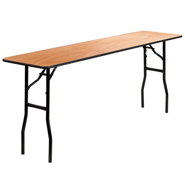 18 W X 72 L Rectangular  Seminar Table W/Clear Coated Finished Top FLF-YT-WTFT18X72-TBL-GG