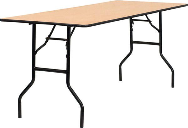 30 W X 72 L Rectangular Banquet Table W/Clear Coated Finished Top FLF-YT-WTFT30X72-TBL-GG