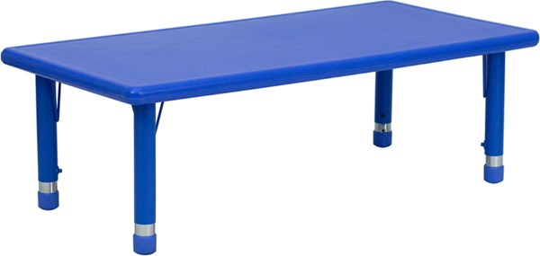 24 W X 48 L Height Adjustable Rectangular Blue Plastic Activity Table FLF-YU-YCX-001-2-RECT-TBL-BLUE-GG