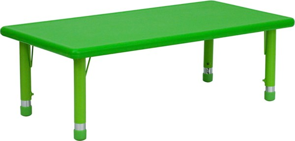 24 W X 48 L Height Adjustable Rectangular Green Plastic Activity Table FLF-YU-YCX-001-2-RECT-TBL-GREEN-GG