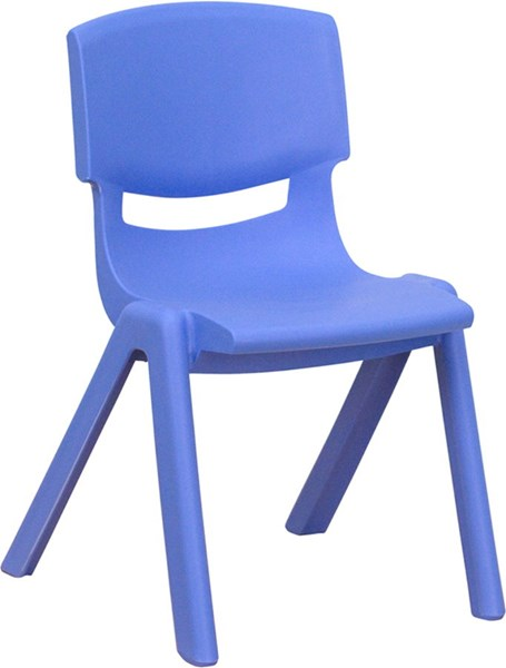 Flash Furniture Blue Plastic Stackable School Chair with 12 Inch Seat Height FLF-YU-YCX-001-BLUE-GG