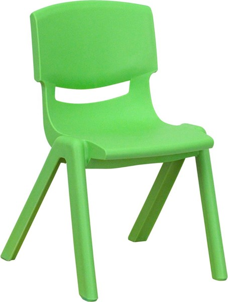 Green Plastic Stackable School Chair W/12 Inch Seat Height FLF-YU-YCX-001-GREEN-GG