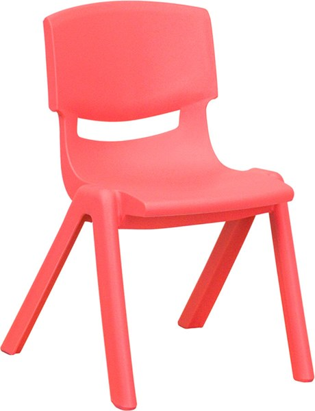Flash Furniture Red Plastic Stackable School Chair with 12 Inch Seat Height FLF-YU-YCX-001-RED-GG