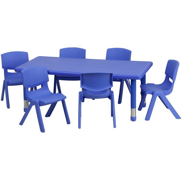 Flash Furniture Plastic 7pc Activity Table Set with 6 Chairs FLF-YU-YCX-0013-2-RECT-TBL-E-GG-KTCH-VAR