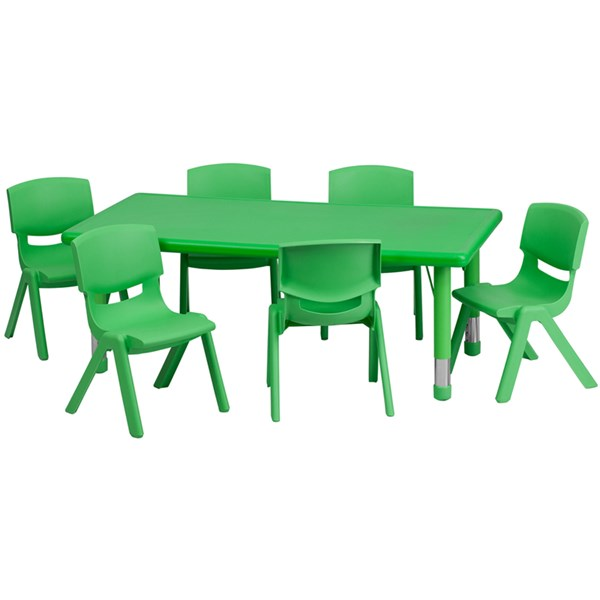 24 x 48 Green Plastic 7pc Activity Table Set w/6 School Stack Chairs FLF-YU-YCX-0013-2-RECT-GRN-S1