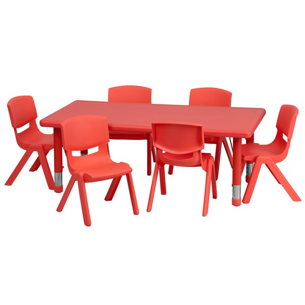 24 x 48 Red Plastic 7pc Activity Table Set with 6 School Stack Chairs FLF-YU-YCX-0013-2-RECT-RED-S1