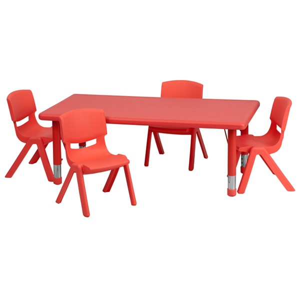 24 x 48 Red Plastic 5pc Activity Table Set w/4 School Stack Chairs FLF-YU-YCX-0013-2-RECT-RED-S2