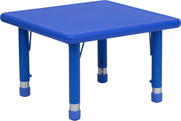 24 Inch Square Height Adjustable Blue Plastic Activity Table FLF-YU-YCX-002-2-SQR-TBL-BLUE-GG
