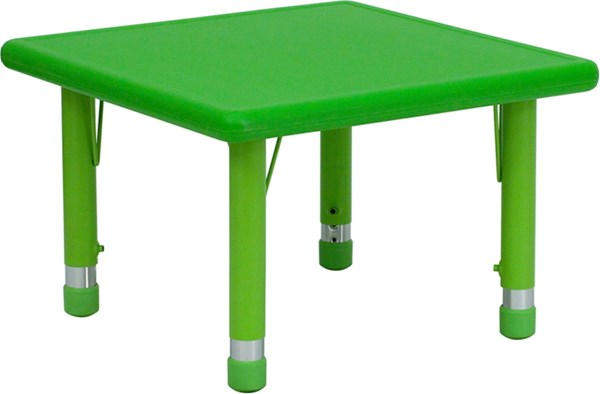 24 Inch Square Height Adjustable Green Plastic Activity Table FLF-YU-YCX-002-2-SQR-TBL-GREEN-GG