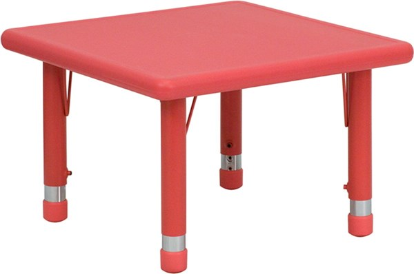 24 Inch Square Height Adjustable Red Plastic Activity Table FLF-YU-YCX-002-2-SQR-TBL-RED-GG